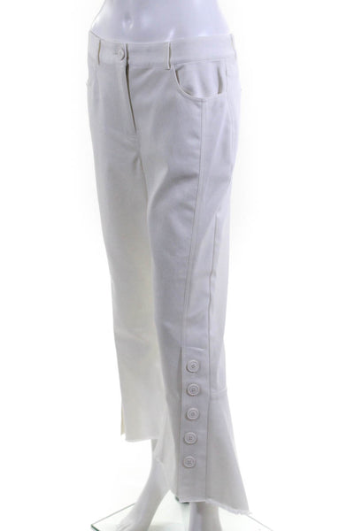 Eudon Choi  Womens Cropped Flare Trouser Pants White Button Ankle Size 12