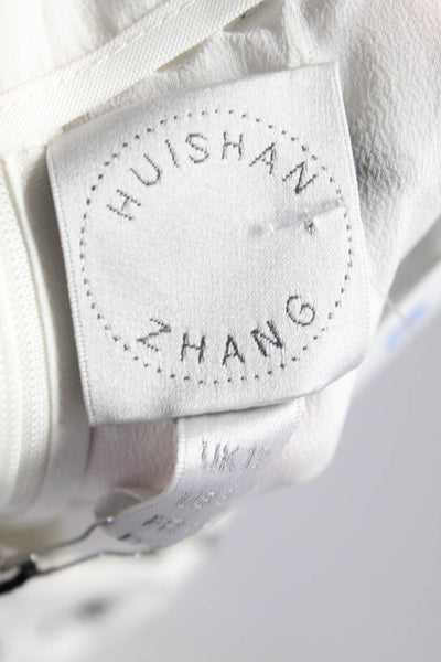 Huishan Zhang  Womens Boot Cut Trouser Pants White Black Faux Feather Size 12