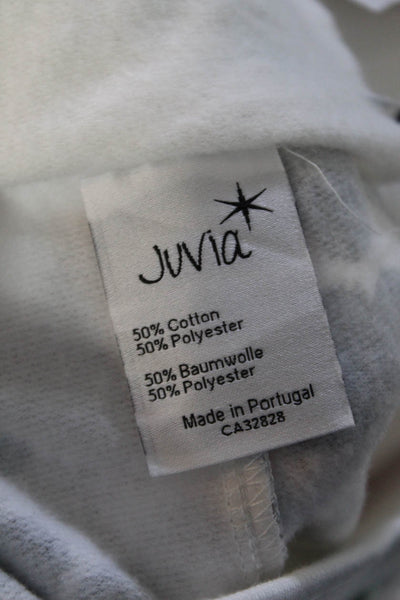 Juvia Womens High Rise Drawstring Cropped Pants White Gray Blue Cotton Size S