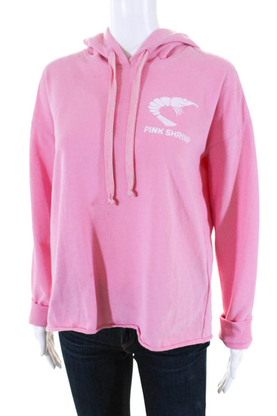 Juvia Womens Long Sleeve Drawstring Hoodie Hot Pink Cotton Pink Shrimp Size S