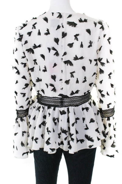 Huishan Zhang Womens Peplum Bell Sleeve Blouse White Black Faux Feather Size 12
