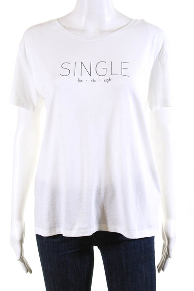 Bassigue Womens Single For The Night Tee Shirt White Cotton Size Large
