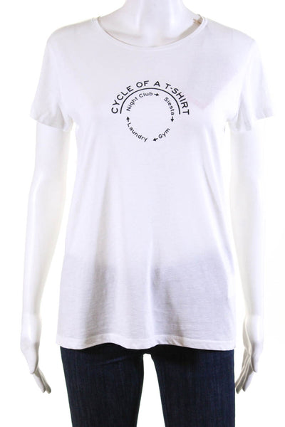 Bassigue Womens Cycle Of A Tees Tee Shirt White Black Cotton Size Small