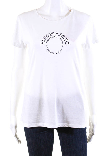 Bassigue Womens Scoop Neck Cycle Of A Tee Shirt White Cotton Size Medium