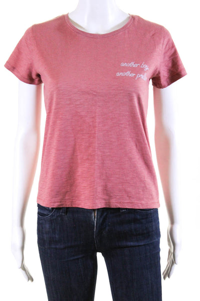 Bassigue Womens Scoop Neck Another Boy Another Problem Tee Shirt Red Cotton XS
