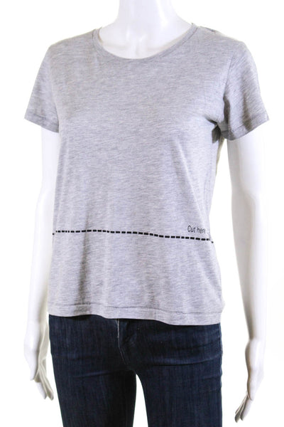 Bassigue Womens Scoop Neck Cut Here Tee Shirt Gray Cotton Size Small