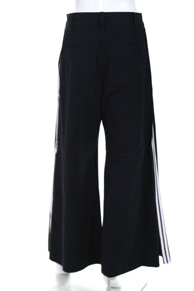 Mihara Yasuhiro Womens Wide Leg High Waist Stripe Trousers Blue Size European 40