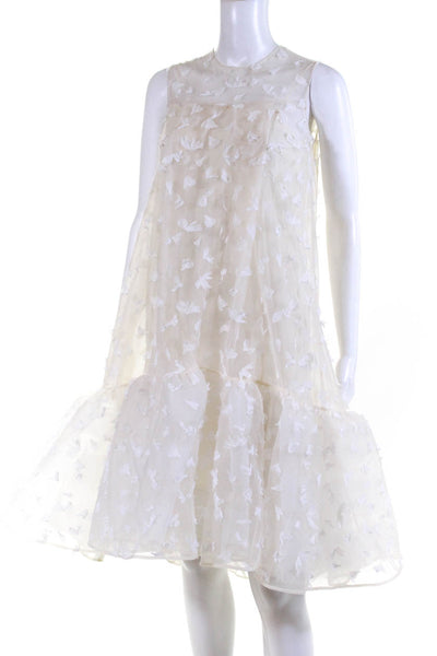 Huishan Zhang Womens Mesh Tulle Faux Feather Dress White Size 4