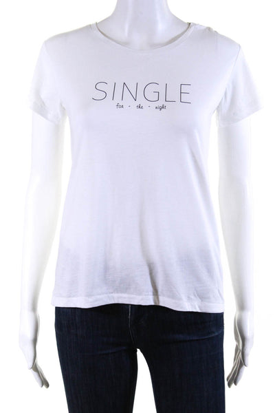 Bassigue Womens Single For The Night Tee Shirt White Cotton Size Small