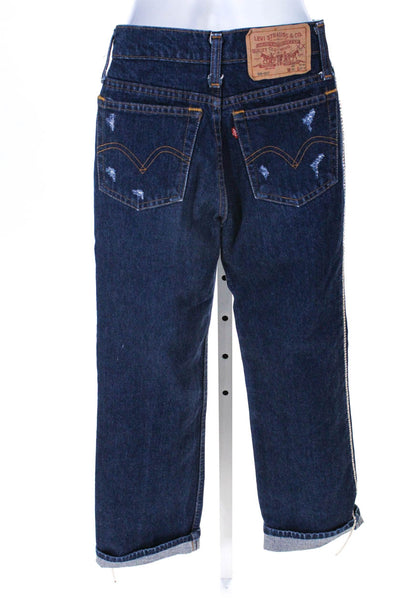 Tiger In The Rain Womens Crystal Embellished Boyfriend Jeans Blue Cotton Size XS
