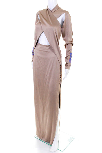 Filles A Papa Womens Long Sleeve Cross Over Exotica Dress Camel Satin Size 0