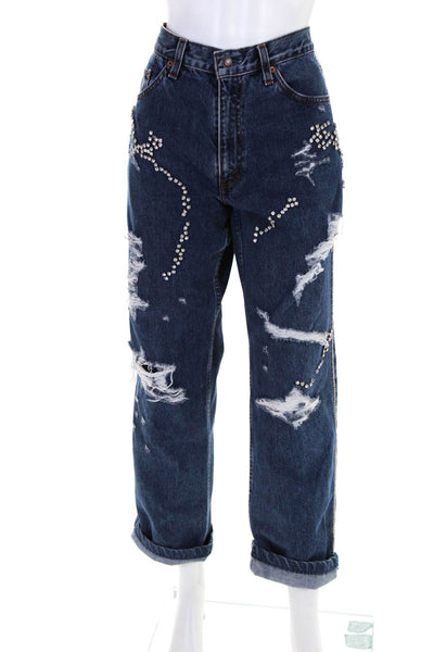 Tiger In The Rain Womens Crystal Embellished Boyfriend Jeans Blue Cotton Medium