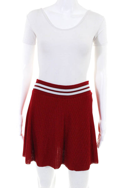 Nervure Womens Pull On Mini Skirt Red White Stripe Size Extra Small