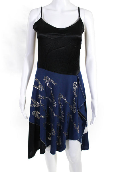 Koche Womens Embellished Spaghetti Strap Dress Black Black Silver Size EU 38