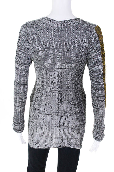 Nervure Womens Stretch Long Sleeve Top Gray Heather Mustard Yellow Size Small