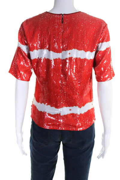 MSGM Womens Short Sleeve Crew Neck Sequin Tee Shirt Red White Size IT 46