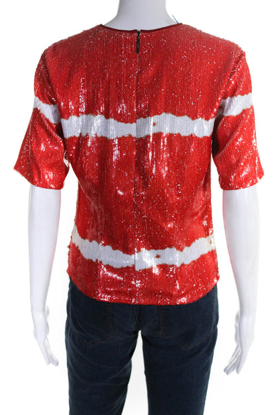 MSGM Womens Short Sleeve Crew Neck Sequin Tee Shirt Red White Size IT 44