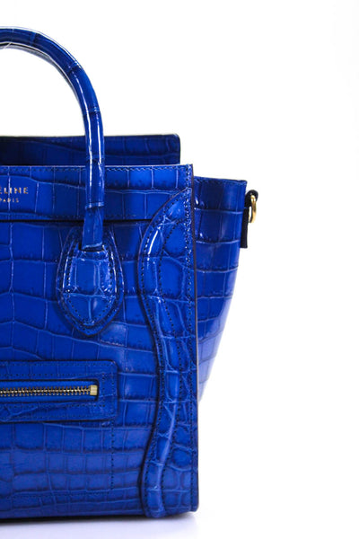 Celine Womens Crocodile Skin Nano Luggage Tote Handbag Electric Blue Leather