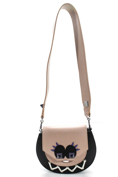 Salar Womens Shoulder Handbag Monster Bag Black Beige Leather
