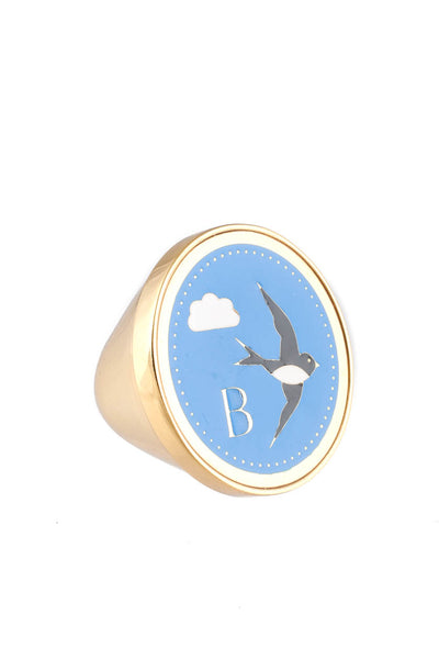 Peech Gold Tone Blue Bird Enamel Ring Size 5