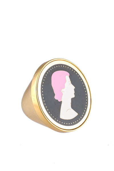 Peech Gold Tone Lady Medallion Black  Pink Enamel Ring Size 5.5