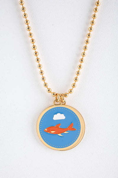 Peech Gold Tone 27mm Blue Enamel Shark Saturn Double Medallion Necklace Pendant