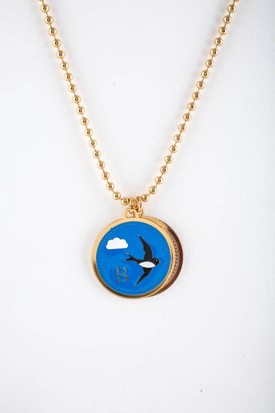 Peech Gold Tone 27mm Black Blue Bird Enamel Medallion Necklace Pendant