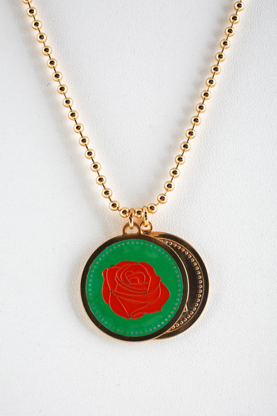 Peech Gold Tone Enamel Double Medallion Rose Lady Pendant Necklace