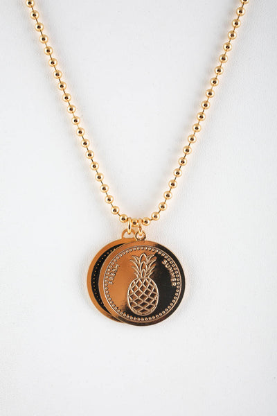 Peech Gold Tone Double Medallion Lady Pineapple Pendant Necklace