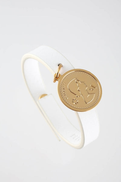 Peech White Thin Leather Gold Tone Medallion Charm Bracelet