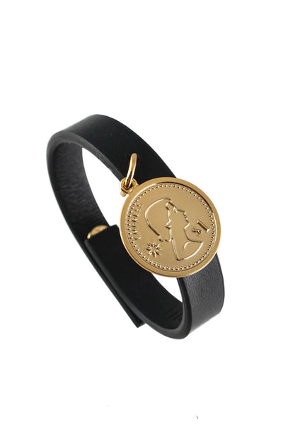 Peech Black Thin Leather Gold Tone Medallion Charm Bracelet