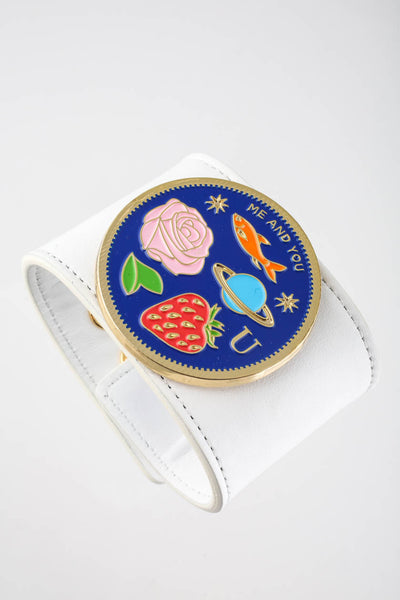 Peech Wide White Leather Me & You Medallion Cuff Bracelet