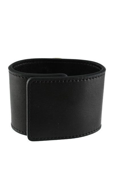 Peech Wide Black Leather Free To Dream Medallion Cuff Bracelet