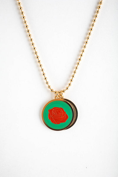 Peech Gold Tone Green Red Rose Enamel Madallion Pendant Necklace