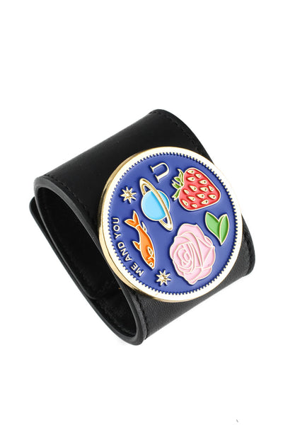 Peech Wide Black Leather Me & You Medallion Cuff Bracelet