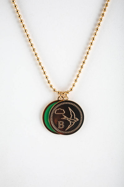 Peech Gold Tone 27mm Green Pink Swan Double Enamel Medallion Necklace Pendant