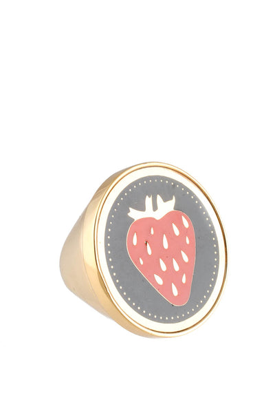 Peech Gold Tone Enamel Strawberry Ring Size 5.5