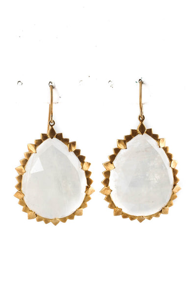 Jamie Wolf Womens Marquise Edge Moonstone Dangle Earrings 24KT Yellow Gold