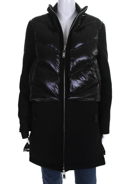 Louis Vuitton Womens Wool Long Sleeve Puffer Coat Black Size 34 European