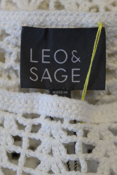 Leo & Sage Womens Crochet Knit Scoop Neck Sweater White Cotton Size Small