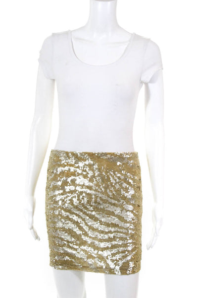 Krizia Women Pull On Sequin Sheer Mini Skirt Gold Size Italian 42