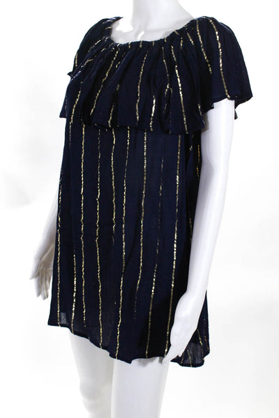 Pia Rossini Womens Shift Dress Navy Gold Metallic Stripe Size Small