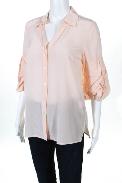 Badgley Mischka Womens Silk V-Neck Ruffle Sleeve Button Down Blouse Pink Size 6