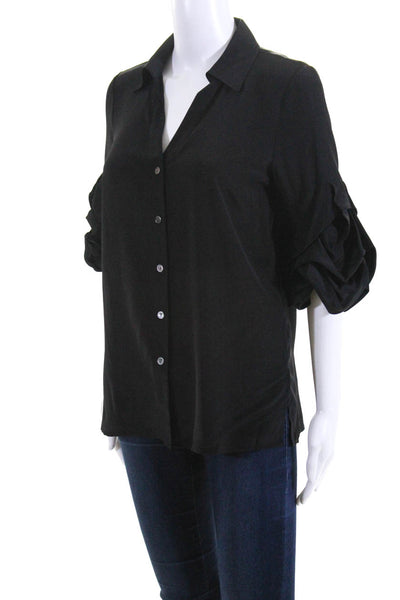 Badgley Mischka Womens Button Down Collared 3/4 Sleeve Blouse Black Silk Size 0