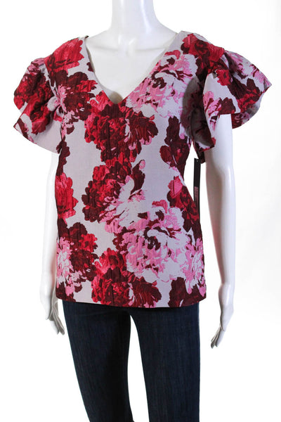 Badgley Mischka Womens Ruffled Sleeve Printed V-Neck Blouse Red Size 2