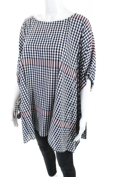 Badgley Mischka Womens Plaid Smock Blouse Red Multi Colored Cotton Size Medium
