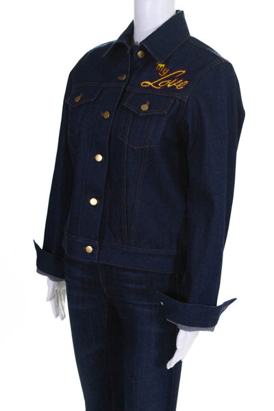 Olympia Le-Tan Womens I Do My Own Thing Embroidered Denim Jacket Size IT 36