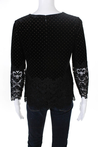 Badgley Mischka Womens Velvet Lace Long Sleeve Gold Dot Blouse Black Size M