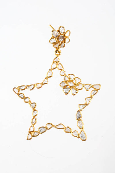 Rarities Laura Jordan Collection 18KT Yellow Gold Plated Diamond Star Earrings