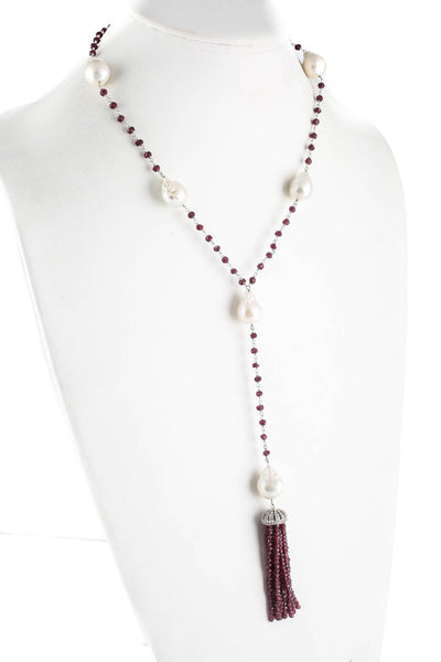 Designer Womens Necklace Tassel Sterling Silver Garnet Baroque White Pearl
